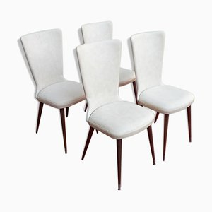 White Leatherette Dining Chairs, 1960s, Set of 4