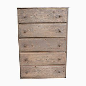 Vintage Ash Chest of Five Drawers