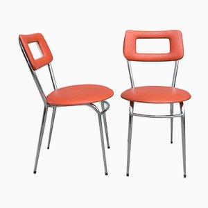 Verchromte Esszimmerstühle aus Öko-Leder, 1970er, 2er Set