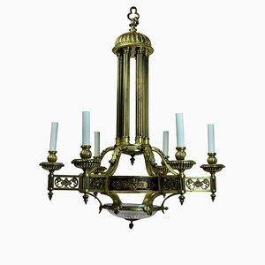 Antiker französischer Kronleuchter aus Bronze und Gold
