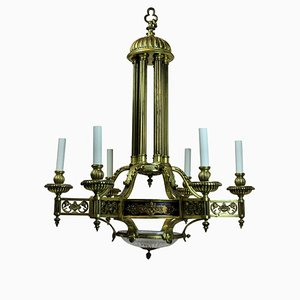 Antique French Bronze and Gold Chandelier