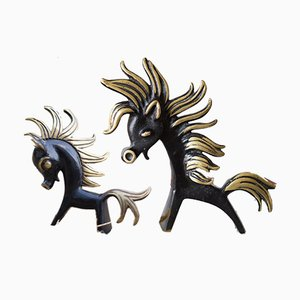 Brass Horse Sculptures by Walter Bosse, 1950s, Set of 2