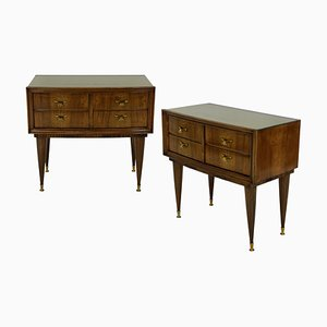 Italian Glass and Walnut Nightstands, 1950s, Set of 2