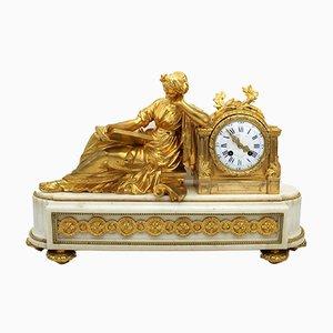 Antike Französische Napoleon III Uhr aus vergoldeter Bronze und Marmor