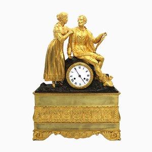Orologio a pendolo Carlo X antico in bronzo dorato, Francia