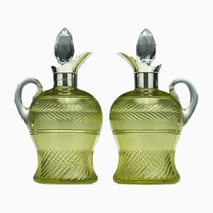 Antique Silver Vaseline Glass Claret Jugs, 1900s, Set of 2