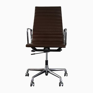 Chrome & Leather EA 119 Desk Chair by Charles & Ray Eames for Vitra, 2000s