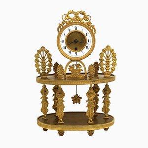 19th-Century Charles X Gilt Bronze Pendulum Clock