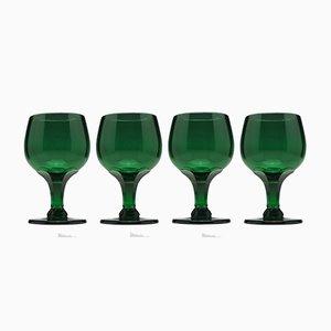 Verres à Vin Antiques en Verre Vert, 1900s, Set de 4
