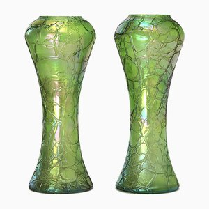 Antique Art Nouveau Glass Vases by Kralik, 1900s, Set of 2