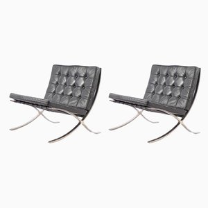 Vintage German Barcelona Chairs by Ludwig Mies van der Rohe for Knoll International, Set of 2