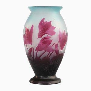 Antique Art Nouveau Glass Cameo Vase by Ėmile Gallé, 1900s