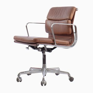 German Chrome Plating and Aniline Leather Soft Pad Model EA217 Desk Chair by Charles & Ray Eames for Herman Miller, 1978