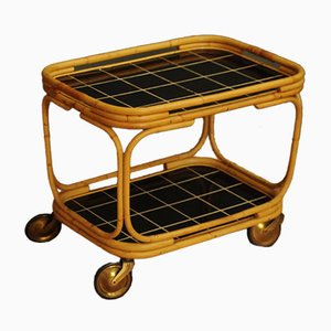 Mid-Century Ceramic and Bamboo Serving Cart, 1960s