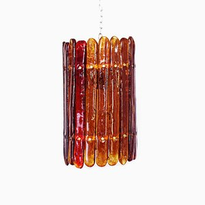 Mid-Century Smoked Glass and Metal Ceiling Lamp, 1950s