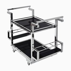 Nickeled Brass Bar Trolley with Black Glass from ADM