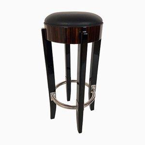 Sgabello da bar in legno impiallacciato laccato e pelle nera di ADM Art Déco Moderne