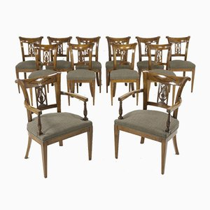 Antique Cherrywood Dining Chairs, Set of 12