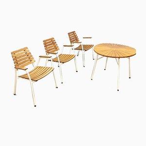Juego de mesa y sillas de jardín danés de metal y teca de Daneline, años 60