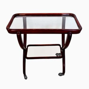 Italian Glass and Wood Trolley by Paolo Buffa, 1950s