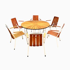 Danish Metal and Teak Garden Table & Chairs Set from Daneline, 1960s