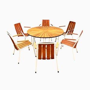 Set de Table et Chaises de Jardin en Métal et Teck de Daneline, Danemark, 1960s