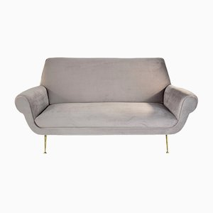 Italian Brass and Velvet Sofa by Gigi Radice for Minotti, 1950s
