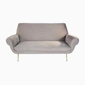 Italienisches Sofa aus Messing & Samt von Gigi Radice für Minotti, 1950er