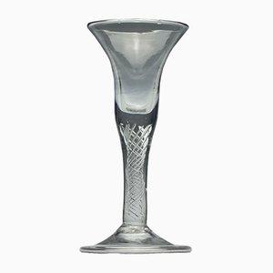 Georgianisches Air Twist Weinglas mit Faltfuß, 1740er