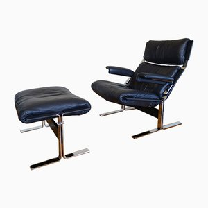 Italian Modern Lounge Chair & Ottoman by Richard Hersberger for Saporiti Italia, 1970s