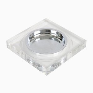 Lucite and Chromed Metal Ashtray by Felice Antonio Botta, 1970s