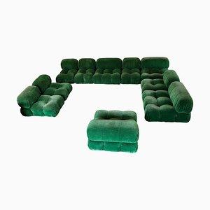 Großes italienisches modulares Camberonda Sitzgarnituren-Set aus grünem Samt von Mario Bellini für B&B Italia, 1972