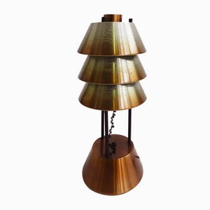 Lámpara de mesa italiana de aluminio de Stilnovo, años 50