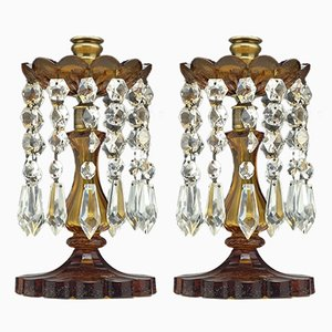 Antique Brass and Amber Glass Candleholders, Set of 2