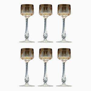 Antike französische Hock Gläser aus geschliffenem Glas, 6er Set