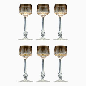 Antique French Cut Glass Hock Glasses, Set of 6