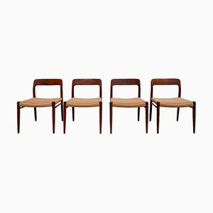 Danish Teak Model 75 Dining Chairs by Niels Otto Møller, 1960s, Set of 4