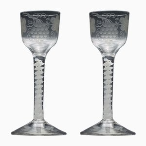 Antique Opaline Glass Wine Glasses, Set of 2