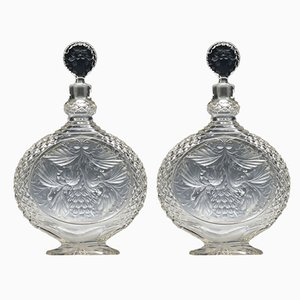 Antique Cut Glass Decanters, Set of 2