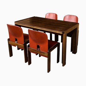 Italian Leather and Walnut Model 121 & 778 Dining Room Set by Tobia & Afra Scarpa for Cassina, 1967
