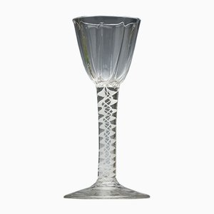 Rib Moulded Georgian Opaque Twist Wine Glass, 1760s