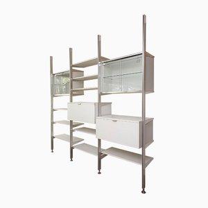 Libreria modulare in acciaio e legno di George Nelson per Mobilier International, anni '70