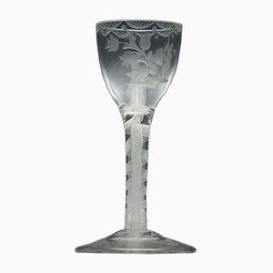 18th Century Engraved Opaque Twist Wine Glass, 1760s