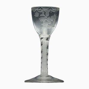Graviertes Twist Weinglas, 18. Jh., 1760er