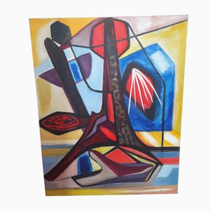 Abstrakte Vintage Komposition in Öl auf Leinwand von Ange Falchi