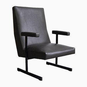 Mid-Century Leatherette and Steel Leo Lounge Chair by Pierre Guariche for Meurop