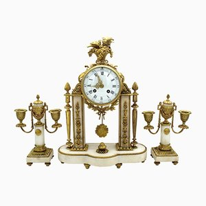 Antique Napoleon III French Gilt Bronze and Marble Clock with 2 Candleholders Set