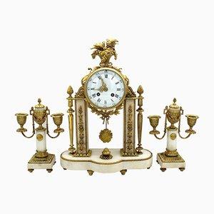 Horloge Napoléon III Antique en Bronze Doré et Marbre avec 2 Bougeoirs