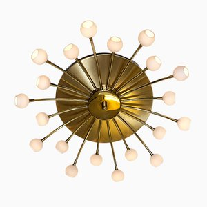 Brass and Frosted Glass Sputnik-Style 20-Armed Ceiling Lamp, 1960s