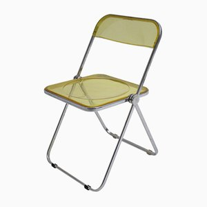 Mid-Century Italian Yellow Plastic Plia Folding Chair by Giancarlo Piretti for Castelli